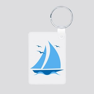 Blue Sailboat Aluminum Photo Keychain