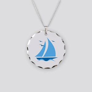 Blue Sailboat Necklace Circle Charm