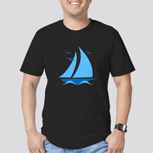 Blue Sailboat Men's Fitted T-Shirt (dark)