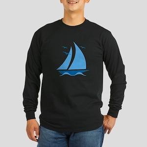 Blue Sailboat Long Sleeve Dark T-Shirt