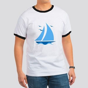 Blue Sailboat Ringer T