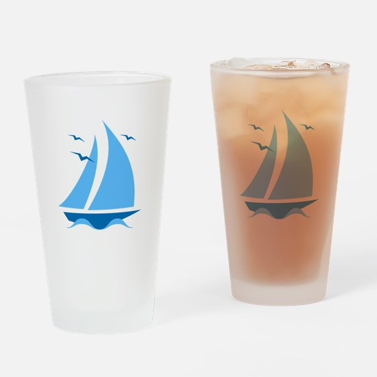 Blue Sailboat Drinking Glass