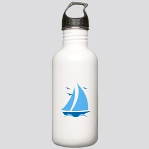 Blue Sailboat Stainless Water Bottle 1.0L