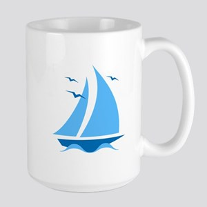 Blue Sailboat Large Mug