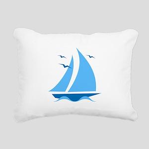 Blue Sailboat Rectangular Canvas Pillow