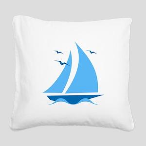 Blue Sailboat Square Canvas Pillow
