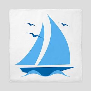 Blue Sailboat Queen Duvet