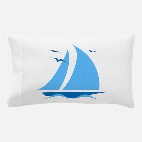 Blue Sailboat Pillow Case