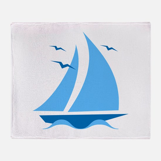 Blue Sailboat Throw Blanket