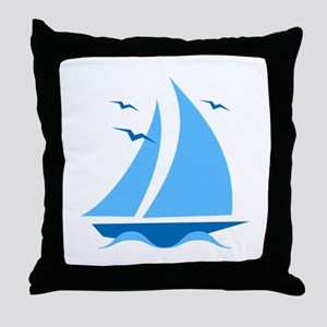 Blue Sailboat Throw Pillow