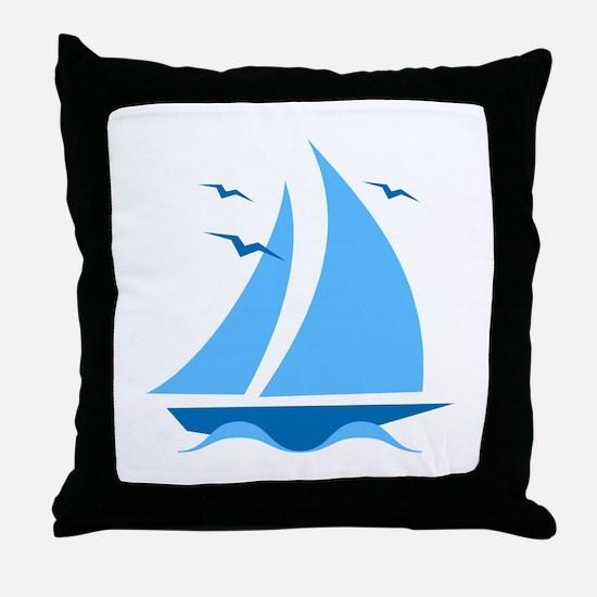 Blue Sailboat Throw Pillow