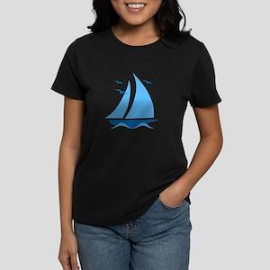Blue Sailboat Women's Dark T-Shirt