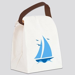 Blue Sailboat Canvas Lunch Bag