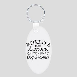 Dog Groomer Aluminum Oval Keychain
