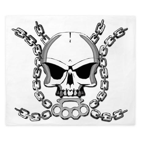 Brass knuckle skull 6 King Duvet