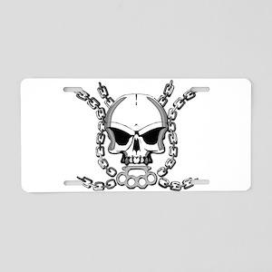 Brass knuckle skull 6 Aluminum License Plate