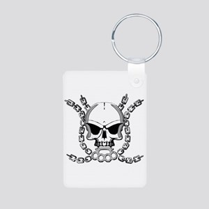 Brass knuckle skull 6 Aluminum Photo Keychain