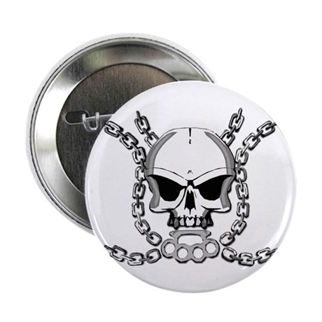 "Brass knuckle skull 6 2.25"" Button (100 pack)"