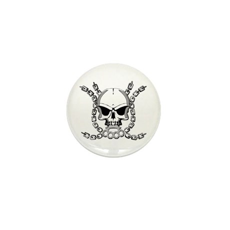 Brass knuckle skull 6 Mini Button