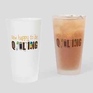 Sew Happy Drinking Glass