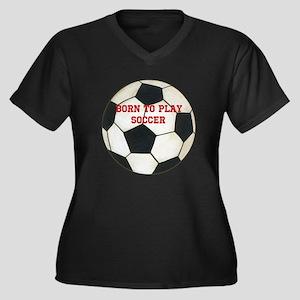 Soccer Women's Plus Size V-Neck Dark T-Shirt