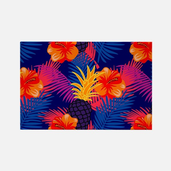 Neon tropical jungle floral pattern design Magnets