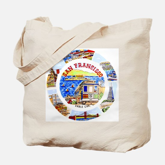 Vintage San Francisco Souvenir Graphics Tote Bag