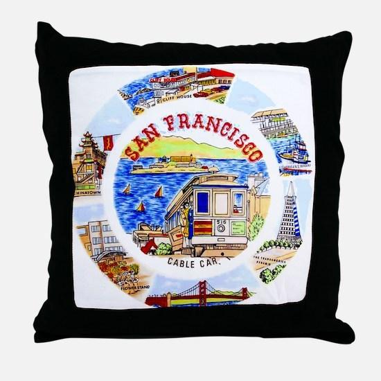 Vintage San Francisco Souvenir Graphics Throw Pill