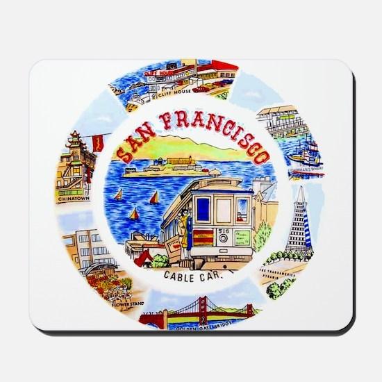 Vintage San Francisco Souvenir Graphics Mousepad