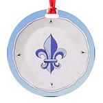 Fleur-de-lisPlateTile.png Round Ornament