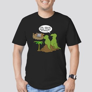 Noah and T-Rex, Funny Men's Fitted T-Shirt (dark)