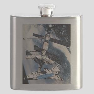 ShuttleatSpaceStationSmPoster Flask