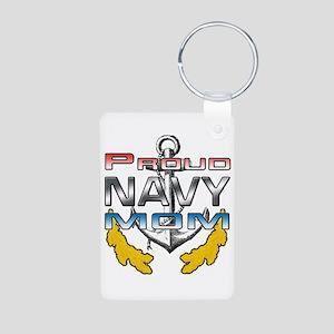 Proud NAVY Mom Aluminum Photo Keychain