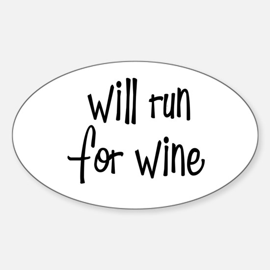 s_willrunforwine3.png Sticker (Oval)
