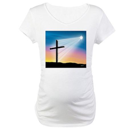 Sunset Cross Enlightened 10x10 Maternity T-Shirt
