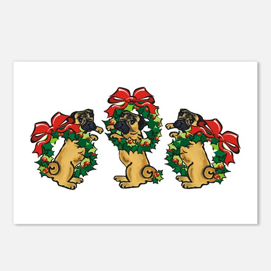 Pugs in Wreaths Postcards (Package of 8)