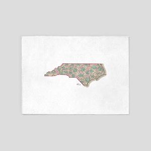 North Carolina Map 1874 5'x7'Area Rug