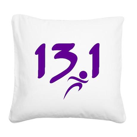 Purple 13.1 half-marathon Square Canvas Pillow