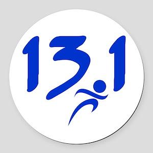 Blue 13.1 half-marathon Round Car Magnet