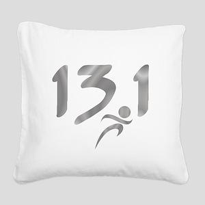 Silver 13.1 half-marathon Square Canvas Pillow
