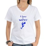 I love my wife! But sometimes... Women's V-Neck T-