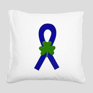Blue Shamrock ribbon Square Canvas Pillow