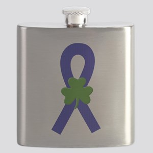 Blue Shamrock ribbon Flask