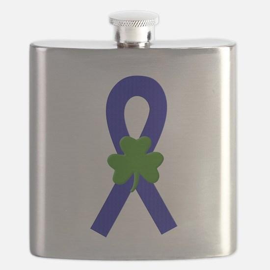 Blue Shamrock ribbon Flask