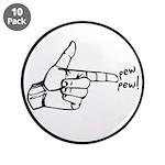 """Imagination Hand Gun Pew Pew 3.5"""" Button (10"""