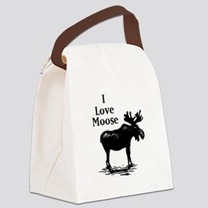 2-Moose Clip Art Canvas Lunch Bag