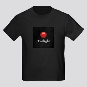 Twilight Lettering with Red Apple Kids Dark T-Shir