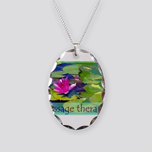 Massage Therapist / Waterlily Necklace Oval Charm