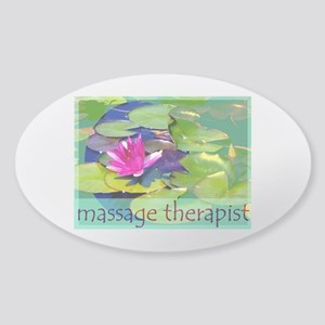 Massage Therapist / Waterlily Sticker (Oval)