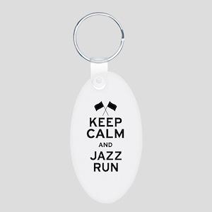 Keep Calm and Jazz Run Aluminum Oval Keychain